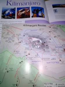 Map of Kilimanjaro routes helps booking trip preparations to climb Kilimanjaro