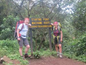 Machame route begin Kilimanjaro climbing to summit