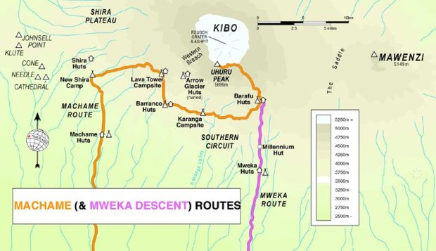 MACHAME-ROUTE guide Map